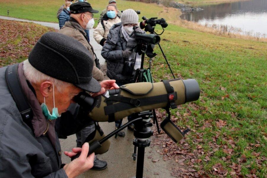 Die Ornithologen der Ortsgruppe Reichenbach, vorn im Bild Eberhard Fröhlich aus Netzschkau, zählten am Sonntagnachmittag Wasservögel auf der Talsperre Pöhl.