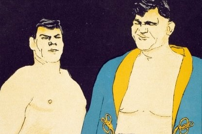 """Franz Diener und Max Schmeling in einer Karikatur des Zeichners Eduard Thöny in der Satirezeitschrift """"Simplicissimus"""" vom April 1928."""