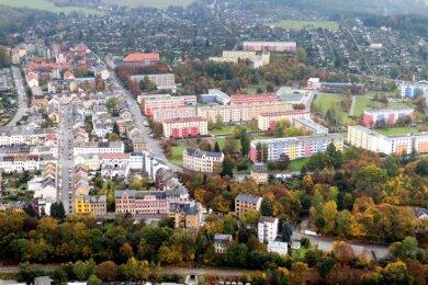 Plauens Süden (hier mit Mammengebiet und ohne Ostvorstadt) soll besonders von der Städtebau-Sonderförderung profitieren. 14,3 der 50 Millionen Euro aus dem beschlossenen Investitionspaket sind für Maßnahmen dort vorgesehen. Für zwei Großprojekte ist die Planung deutlich weiter.