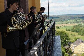 Das Waldhornquartett der Jungen Philharmonie Augustusburg war am 6. Juni zur Eröffnung der Konzertreihe schon zu hören.