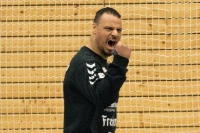 Rückhalt und Motivator: Torwart Tino Hensel ist auch in der Saison 2020/21 ein Garant für die gute Platzierung der HSG Freiberg.