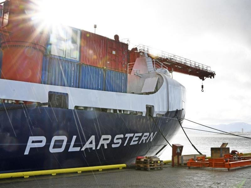 Das deutsche Eisbrecher- und Forschungsschiff «Polarstern» in einem Hafen in Norwegen.