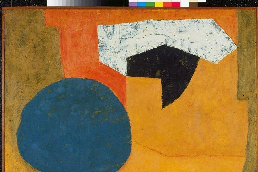 """Reine Abstraktion, die nur Spuren des Farbauftrags erkennen lässt: Die """"Composition orange au cercle bleu"""", 1954, Öl auf Leinwand, ist eine Leihgabe des Museums Folkwang in Essen."""
