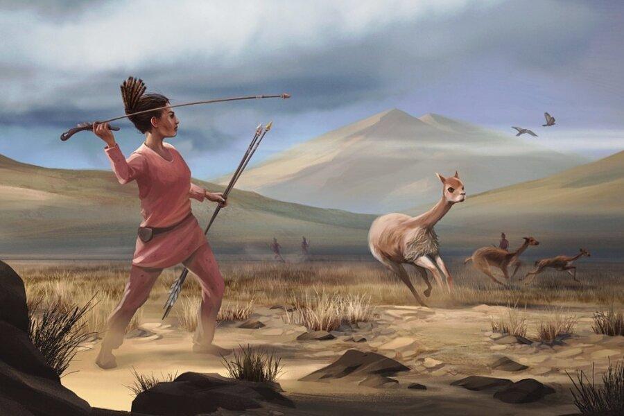 So stellen sich Künstler die Jägerinnen der Steinzeit in den Anden Südamerikas vor.