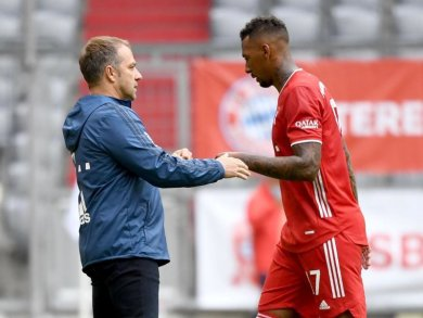 Erfolgs-Duo: Bayern-Coach Hansi Flick und Jérôme Boateng.