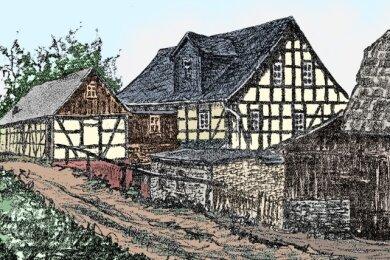 Eine Zeichnung der Obermühle, entstanden um 1880.