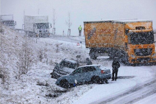 Auch auf der Umleitung zwischen Glauchau und Meerane gab es gestern Unfälle.