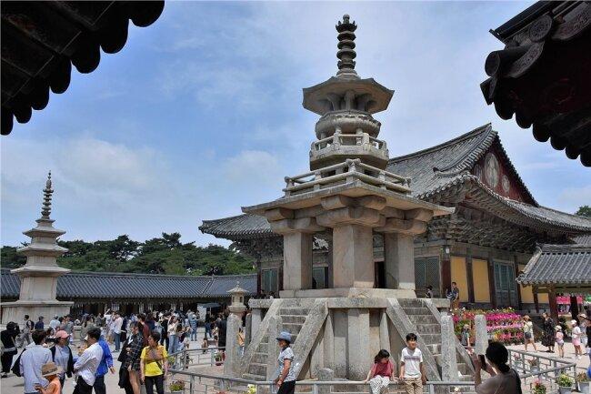 Weltkulturerbe: Der Bulguk-Tempel bei Gyeongju mit Koreas berühmtestem Pagoden-Paar.