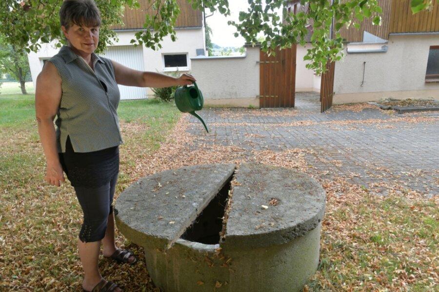 Carmen Helmich im August 2020 am Brunnen von Mathias Becker in Erlicht: Der Brunnen führte im Sommer kein Wasser mehr.