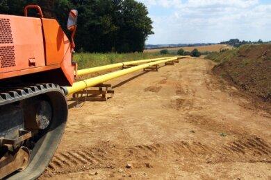 Neue Erdgasleitungen werden in diesen Wochen zwischen Berthelsdorf und Brand-Erbisdorf verlegt.