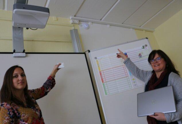 Schulleiterin Antje Wolf (rechts) und Wencke von Schwarzenstein, Klassenlehrerin der 1b, zeigen auf das blaue Licht, das vom eingeschalteten W-Lan zeugt. Per Knopfdruck ist es ganz einfach abzuschalten.