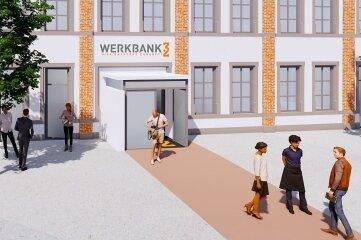 """In der """"Werkbank 32"""", hier ein Entwurf, soll die Blockchain-Technologie veranschaulicht werden."""