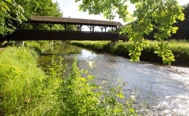 Die Schäferbrücke führt unweit des Lochbauers über die Weiße Elster. Naturschützer stellen jetzt konkrete Forderungen an die Öffentlichkeit, um den Fluss und seinen Uferbereich besser zu schützen.