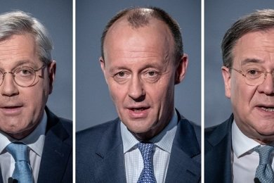 Eine Bildkombo zeigt die drei Kandidaten für den CDU-Parteivorsitz (von links): Norbert Röttgen, Friedrich Merz und Armin Laschet bei einer Diskussionsrunde im Konrad-Adenauer-Haus.