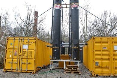 Das Grundwasser im Bereich der Dalichow-Brache in Glauchau muss mit großem technischem Aufwand gereinigt werden.