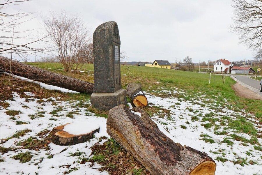 Am Denkmal für die Gefallenen des Ersten Weltkriegs an der Crossener Straße im Mülsener Ortsteil Berthelsdorf sind zwei Bäume gefällt worden. Die Arbeiten stehen allerdings laut Amt für Straßenbau nicht im Zusammenhang mit der geplanten Umverlegung der Kreisstraße in dieser engen Kurve. Dafür gebe es noch keine gesicherte Finanzierung und damit auch keinen Termin. Wie der Mülsener Bürgermeister Michael Franke (Freie Wähler) informierte, hätten die Bäume im Rahmen der Verkehrssicherungspflicht gefällt werden müssen. Er berichtete, dass das Denkmal, das sich auf privatem Grund befindet, auf eine kommunale Fläche in Berthelsdorf versetzt werden soll.