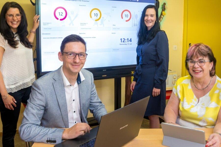 Stefanie Plügge, Firmenchef Micha Lehmann und Susann Schnyder haben mit der Kindertagesstätte Knirpsenhaus um Leiterin Gabriele Anders (v. l.) zusammengearbeitet, um die App zu verbessern und auf die Bedürfnisse der Erzieherinnen und Eltern anzupassen.