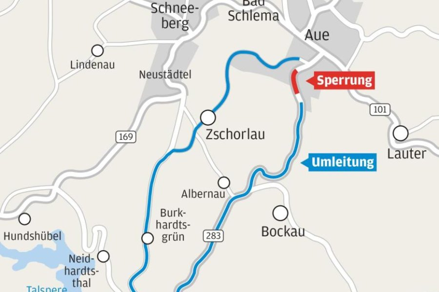 24 Kilometer Umleitung für 600-Meter-Baustelle in Aue