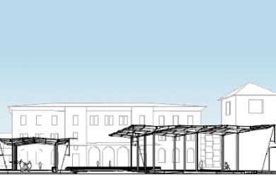 Etwa so wie in diesem Entwurf (Blick in Richtung Hauptbahnhof) sollen die Bus-Bahnsteige, die auf dem Vorplatz des Hauptbahnhofs geplant sind, überdacht werden.