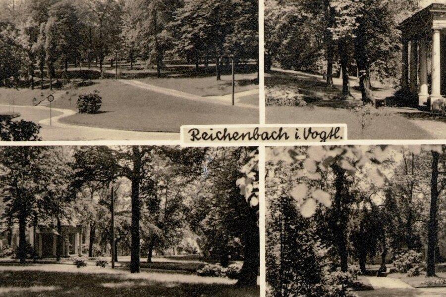 Die Postkarte zeigt den alten Reichenbacher Friedhof in den 40-er Jahren. Bei der Halle mit den markanten Säulen handelt es sich um die Grabstätte einer Unternehmer-Familie.