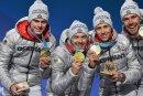 Die Olympiasieger Vinzenz Geiger, Fabian Rießle, Eric Frenzel und Johannes Rydzek (von links) sind u. a. in der Vogtland-Arena hautnah zu erleben.