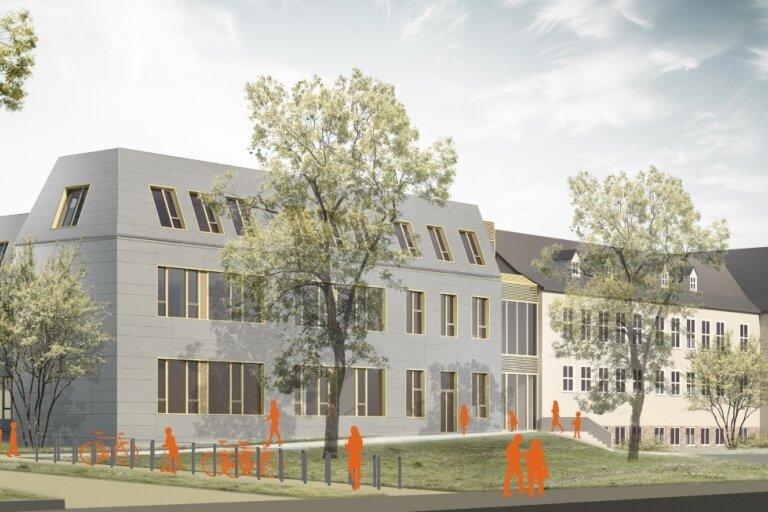 Visualisierung des Neubaus im Grundschulkomplex an der Weststraße auf dem Chemnitzer Kaßberg. Rechts ist der denkmalgeschützte, bereits vorhandene Gebäudeteil aus den 1950er-Jahren zu sehen.