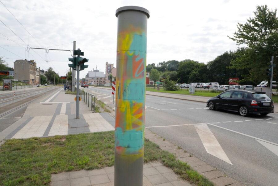Blitzer in Chemnitz erneut beschmiert