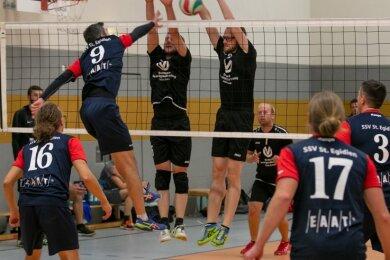 Der Lichtensteiner Block, hier mit Jonas Naumann (rechts) und Lieven Oehler, stellte das Team aus St. Egidien vor Probleme.