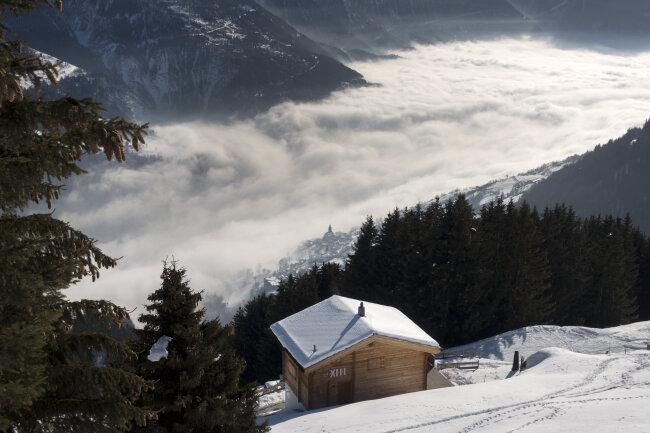 Blick von der Riederalp in den Schweizer Alpen.