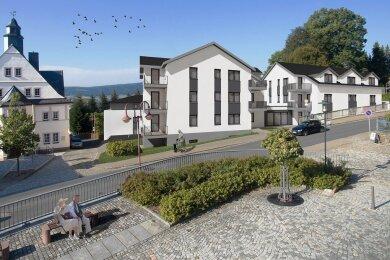 So soll das Areal aussehen, wenn die Casa Bernsbach steht. Die Wohnanlage ist speziell auch auf ältere Mieter ausgelegt.