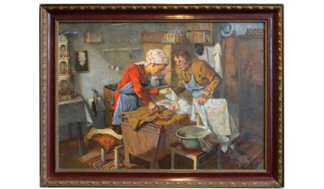 Weihnachten in einem Spielzeugmacher-Haushalt - das Gemälde eines unbekannten Malers stammt vermutlich aus den 1920er-Jahren.