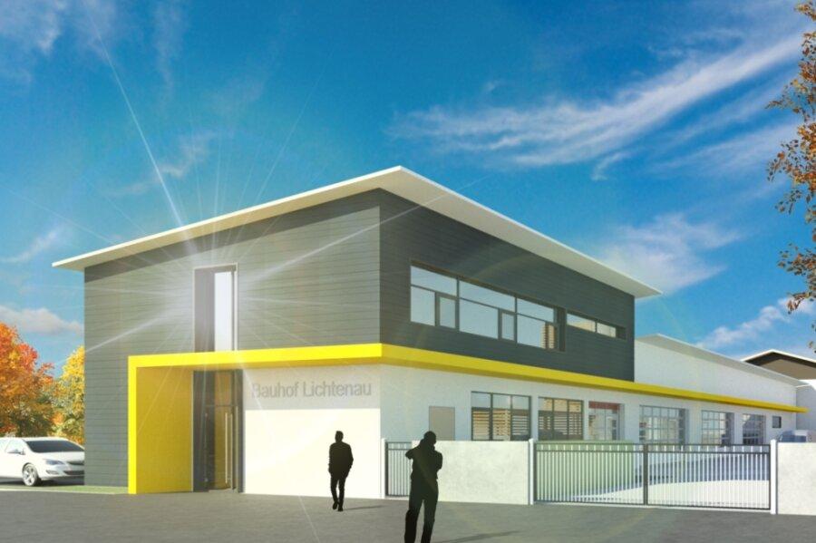 So sieht die Visualisierung zur Vorplanung des künftigen Bauhofes in Lichtenau aus.