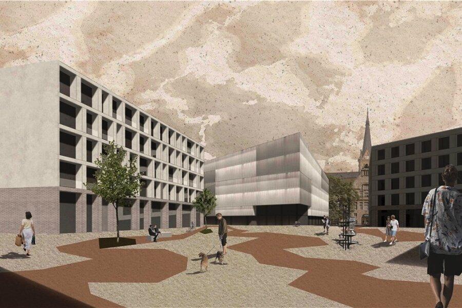 """Anika Hertwigs und Lisa Probsts Entwurf """"Eisbrecher"""" sieht einen Platz vor, an dem sich der Eingang zum vorgesehenen Erweiterungsbau der Kunstsammlungen Chemnitz befindet."""