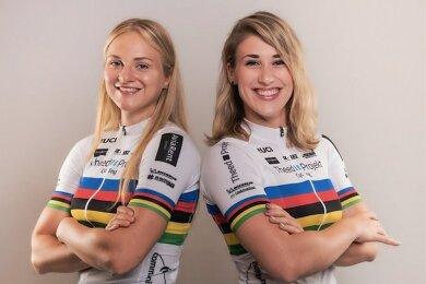 Pauline Grabosch (r.) und Lea Sophie Friedrich aus dem Chemnitzer Team Theed-Projekt-Cycling besitzen mehrfach Medaillenchancen. Bei den Herren gehört aus dem Team Nik Schröter zum Aufgebot.