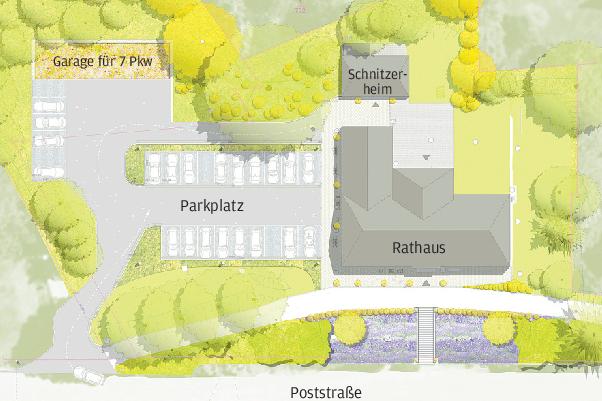 So soll das Umfeld des Rathauses im Jahnsdorfer Ortsteil Leukersdorf neu gestaltet werden. Es entstehen eine neue Zufahrt und Parkplätze. Der Platz vor dem Gebäude wird offener gestaltet.