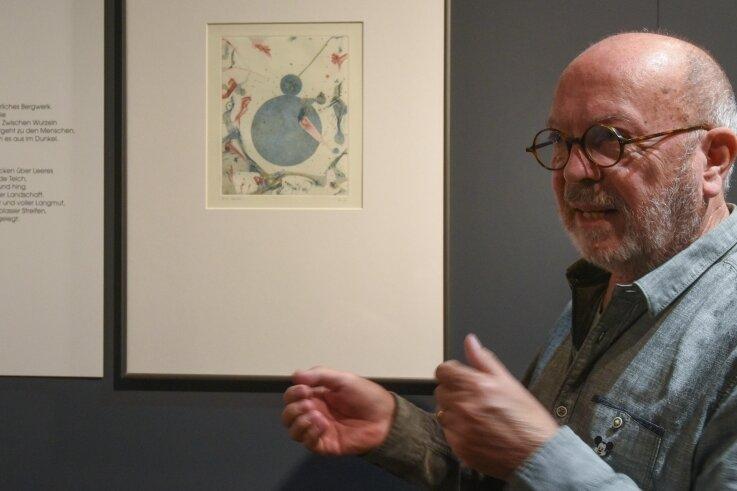 Zehn Bücher mit Werken Rilkes hat Thomas Ranft für die Erarbeitung seiner Grafiken durchgearbeitet. Der 75-Jährige schreibt selbst Gedichte.