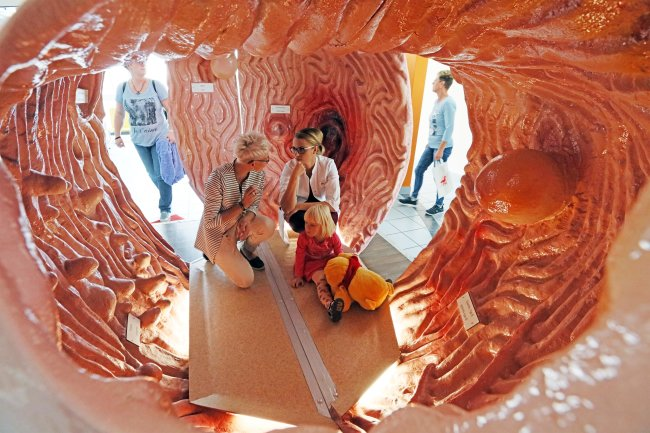 Assistenzärztin Natalie Kubiessa (Mitte) erklärt Maria Bohle und ihrer Tochter Abby, im Magenmodell wie der Magen funktioniert.