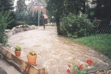 Das Foto entstand bei einem Starkregen vor einigen Jahren am Grundstück von Familie Kreck in St. Michaelis. Bei jedem Unwetter und heftigen Regengüssen sind Haus und Garage in Gefahr.