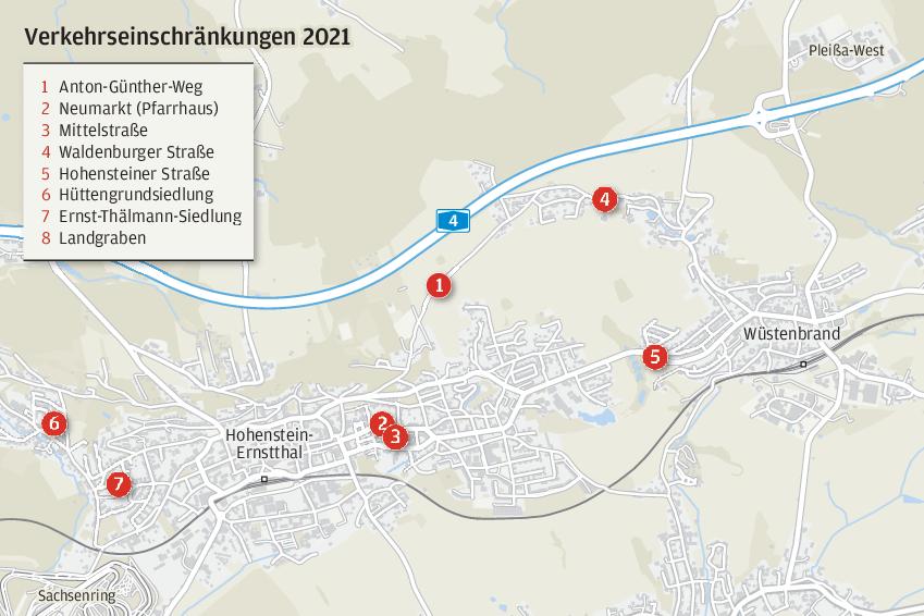 Wo in Hohenstein-Ernstthal 2021 Straßen gebaut werden