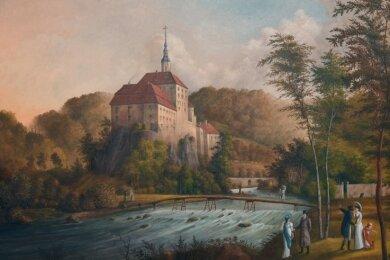 Schloss Weesenstein entstand als jüngstes Landschaftsbild. Der Canaletto von Gorbitz malte es nach einer Vorlage, erweitert um seine eigenen Ideen.