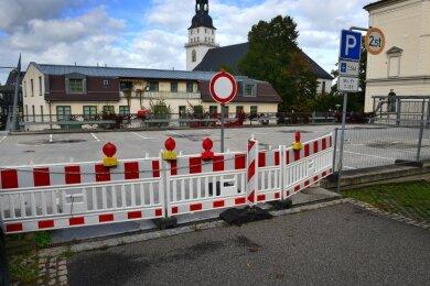 Ist gesperrt, weil nicht mehr standsicher: Parkdeck im Zentrum von Frankenberg.