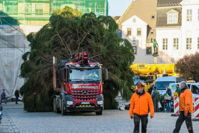 Am Donnerstag gegen 9 Uhr kam der Weihnachtsbaum in Schneeberg an.