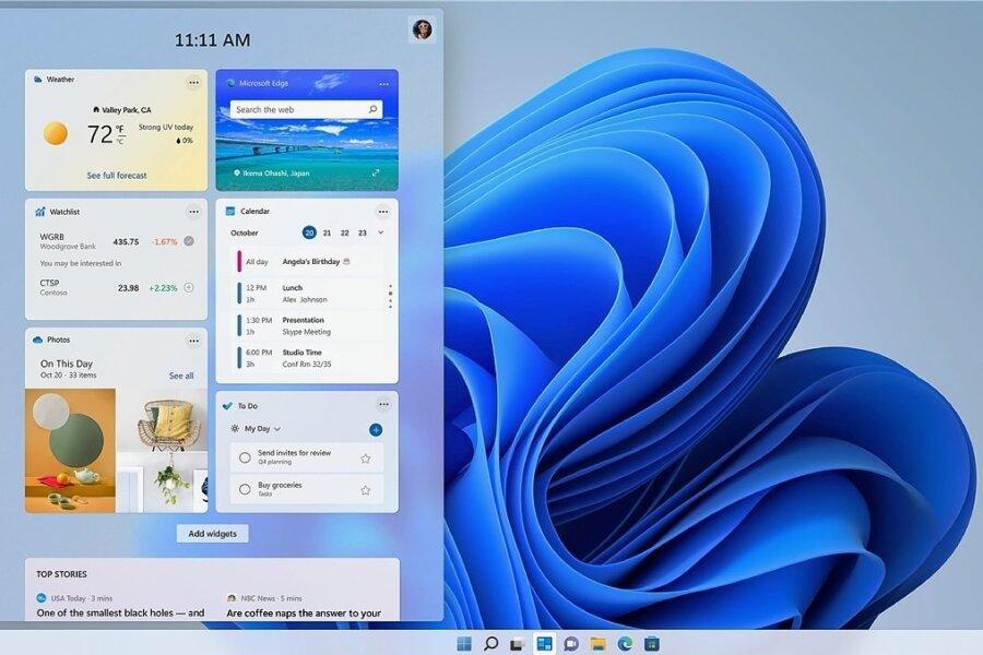 Wie auf dem Smartphone: Zum Desktop lassen sich Widgets hinzufügen.