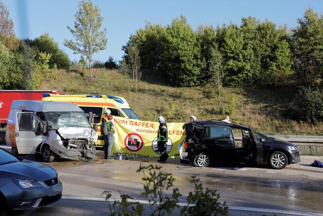 Der zweite Unfall ereignete sich zwischen den Anschlusstellen Frankenberg und Chemnitz Ost.