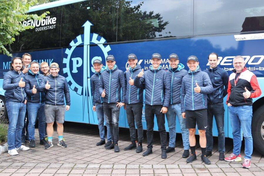 Zufrieden mit dem bisherigen Verlauf der Deutschland Tour: Das Radprofiteam P & S Metalltechnik.