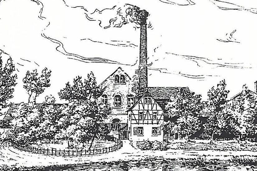 Der Himmelsfürstschacht, hier eine Zeichnung aus der Zeit um 1870, befand sich in Vorderneu-dörfel bei Niederplanitz.