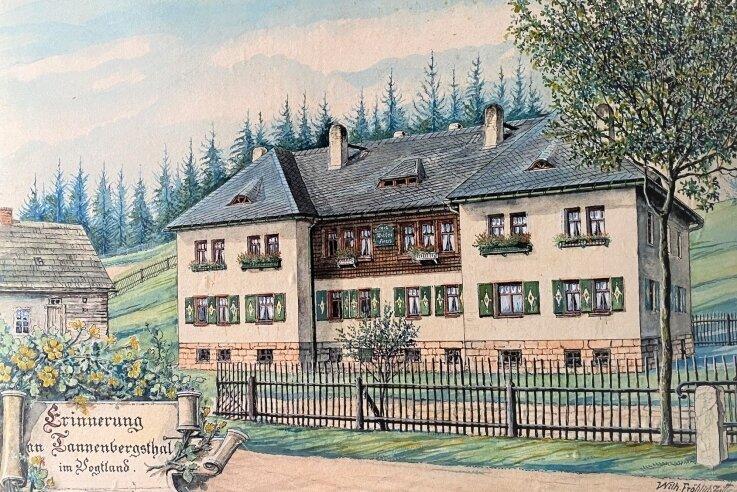 Das sogenannte Wiesenhaus in Tannenbergsthal, erbaut 1912 und danachgemalt von Wilhelm Fröhlich.