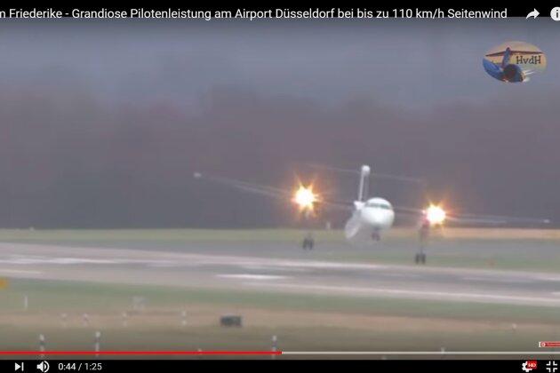 """Spektakuläre Landung: Passagierflugzeug bietet """"Friederike"""" Paroli"""