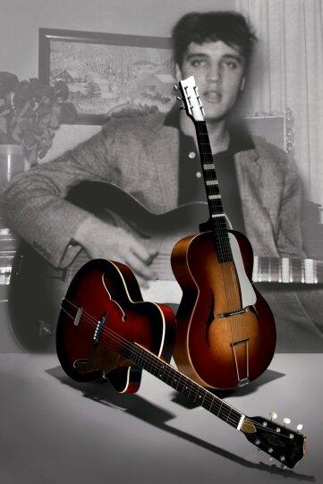 """<p class=""""artikelinhalt"""">Das Foto, welches Elvis mit der Framus-Gitarre zeigt, und die baugleichen Modelle, die künftig in Markneukirchen zu sehen sind. </p>"""