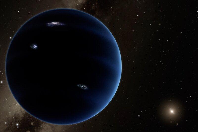 So könnte unser Neunter aussehen. Die Computeranimation zeigt zum einen den Planeten, den Wissenschaftler als den neunten unseres Sonnensystems errechnet haben wollen, und zum anderen, wie groß die Entfernung von diesem Planeten zur Sonne ist. Der Planet ist den Berechnungen zufolge gasförmig, ähnlich wie Uranus and Neptun.